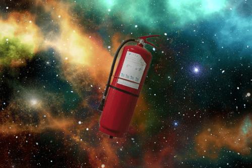 Estintore rosso spazio