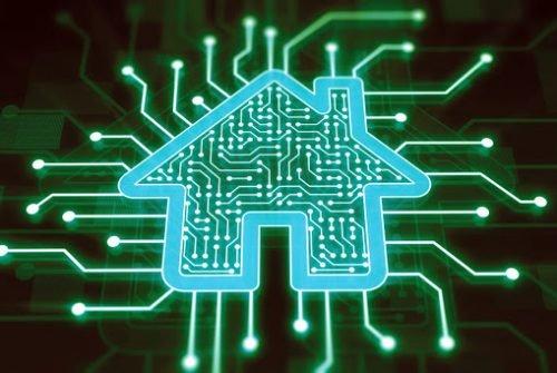 Smart home concept on digital display